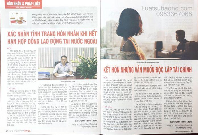 Xác định tình trạng hôn nhân khi hết hạn lao động ở nước ngoài Tham gia Báo giấy